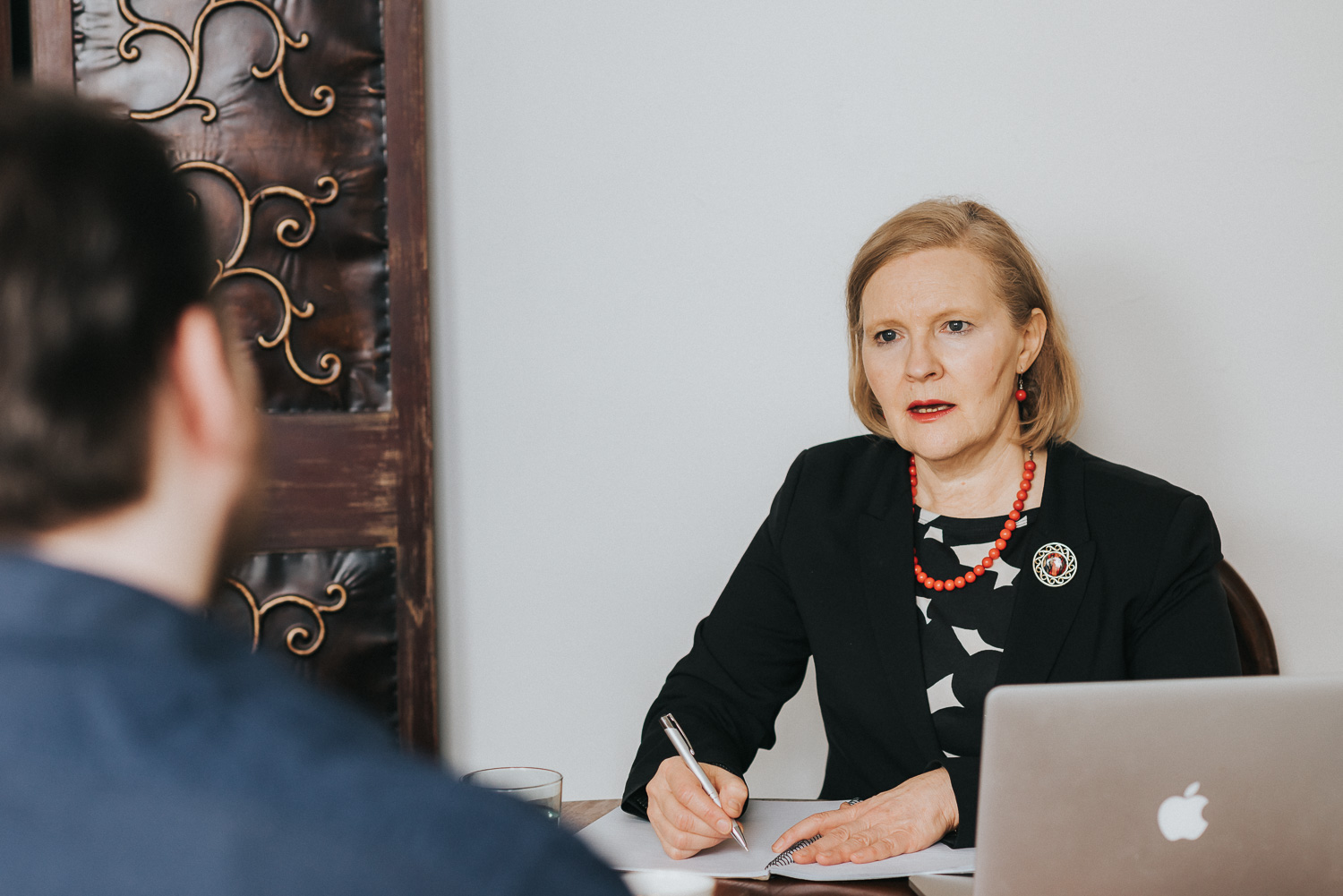 Lawyer listening to a client